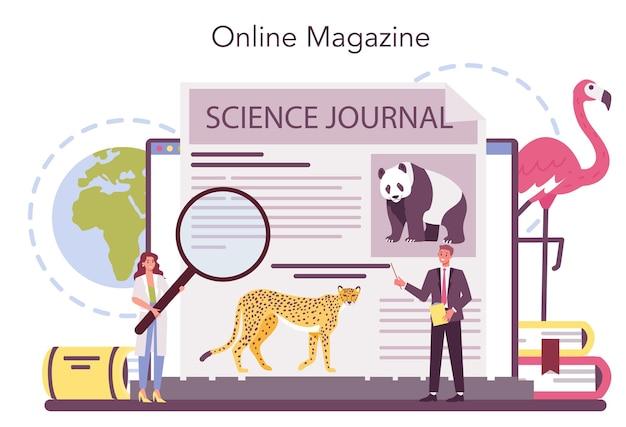 Servizio online di zoologo o illustrazione della piattaforma