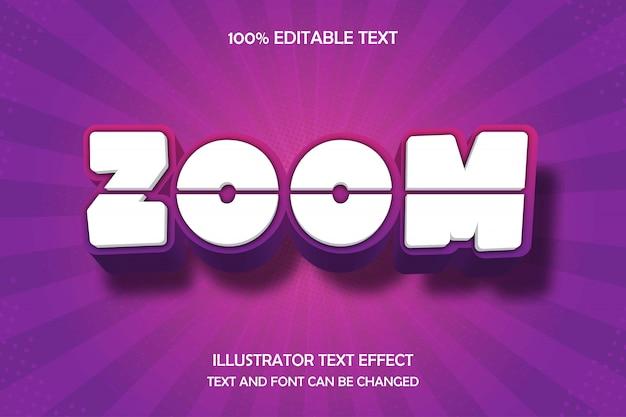 Zoom, effetto di testo modificabile 3d viola gradazione rosa moderna ombra stile comico