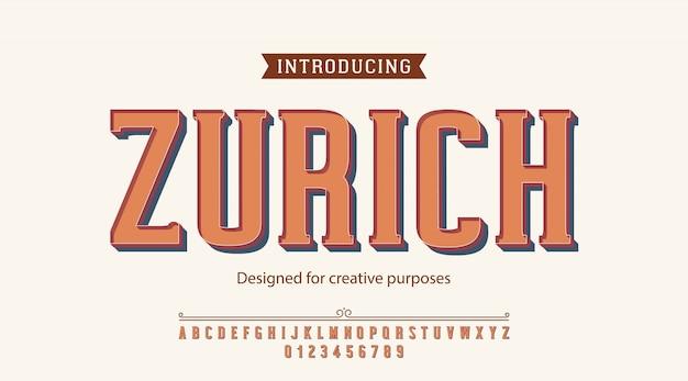 Carattere tipografico di zurigo. per scopi creativi