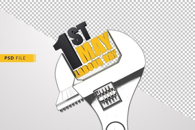1 mei dag van de arbeid internationale werknemers dag moersleutel 3d render