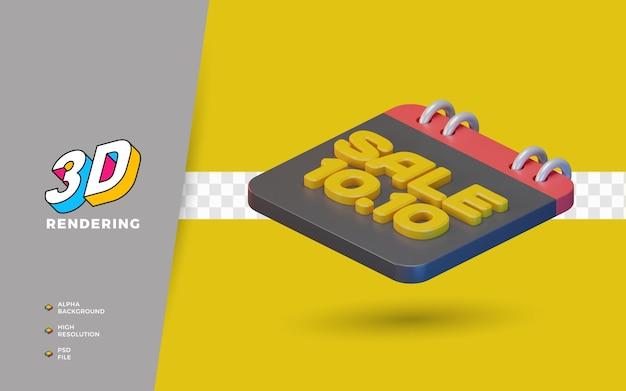 10.10 día de compras promoción de venta de descuento 3d render