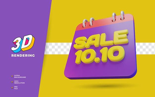 10.10 día de compras promoción de venta de descuento objeto de renderizado 3d