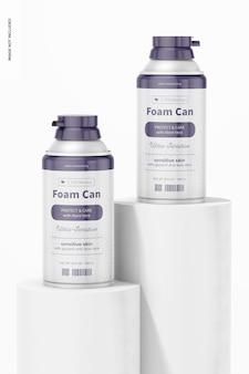 10,5 oz foam cans mockup, op oppervlakken