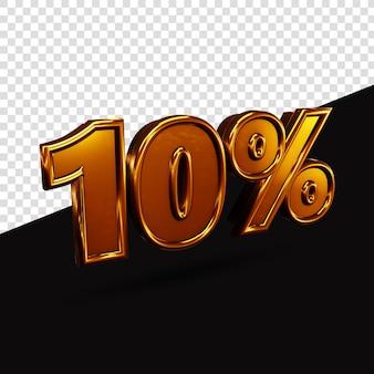 10% gouden tekst 3d-rendering geïsoleerd