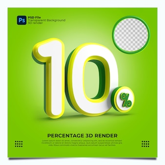 10 porcentaje 3d render greenyellowwhite colores con elementos