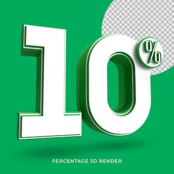 10 procent 3d render groene kleur