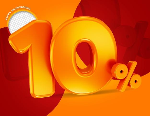 10 procent aanbieding label 3d-rendering geïsoleerd