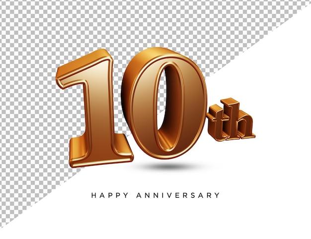 10e verjaardag 3d-rendering geïsoleerd