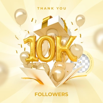 10k seguidores con números globos 3d render