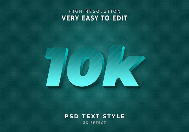 10k stile di testo 3d