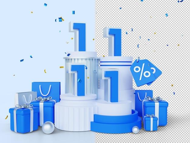 1111 día de compras banner de venta concepto de renderizado 3d 11 de noviembre mega venta día mundial de compras global