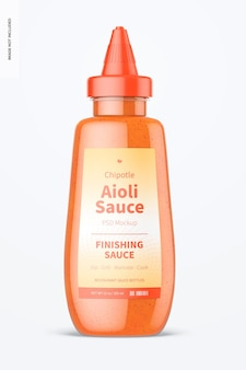 12 oz chipotle aioli sauce bottle mockup