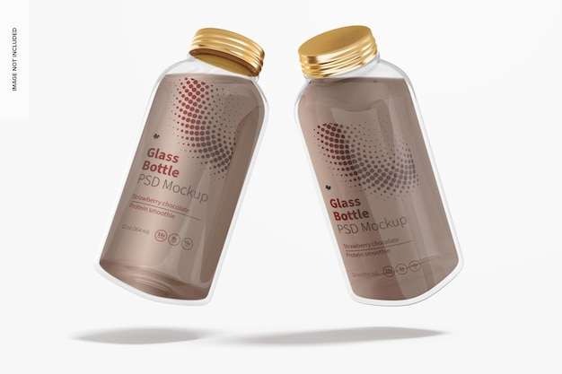 12 oz glazen fles mockup, perspectief