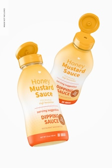 12 oz honing mosterdsaus fles mockup
