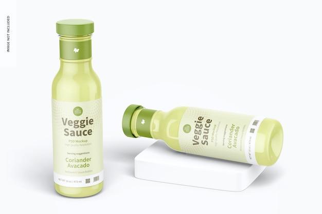 12 oz veggie saus fles mockup