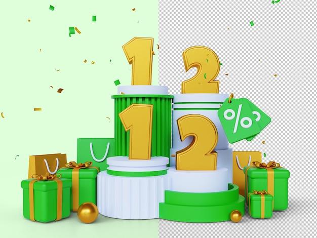 1212 día de compras banner de venta concepto de renderizado 3d 12 de diciembre día mundial de compras de mega venta global
