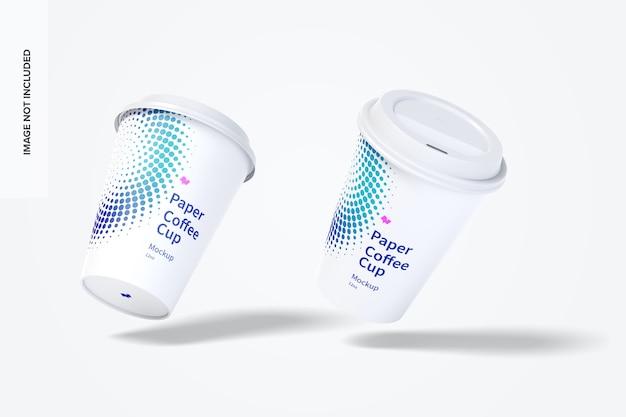 12oz papieren koffiekopjes mockup drijvend