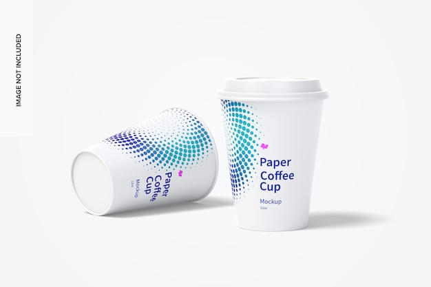 12oz papieren koffiekopjes mockup