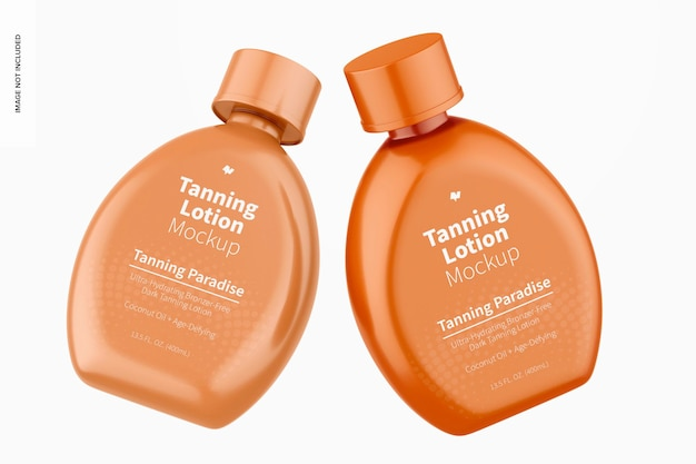 13.5 oz tanning lotion flessen mockup, drijvend