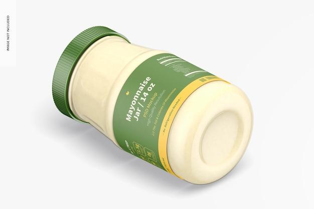 14 oz mayonaise pot mockup, isometrisch linkeraanzicht