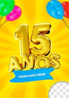 15 años en brasil etiqueta feliz 15 cumpleaños oro 3d render