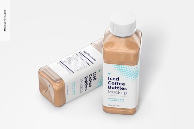 16 oz iced coffee flessen mockup, perspectiefweergave