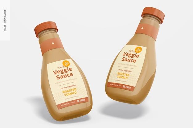 16 oz italiaanse veggie saus fles mockup