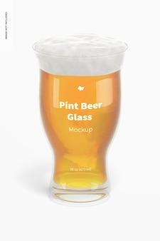 16 oz pint bierglas mockup, vooraanzicht