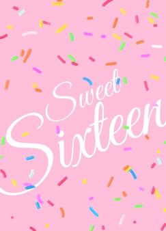 16e verjaardag wenskaartsjabloon psd met confetti achtergrond