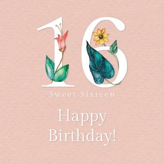 16e verjaardagswenssjabloon psd met illustratie van bloemennummer