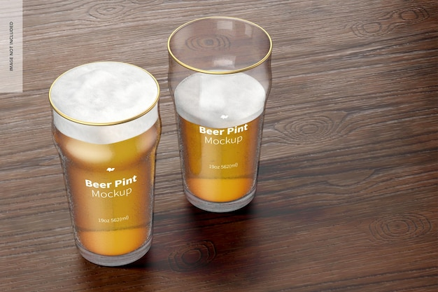19 oz beer nonic pint glass mockup, perspectief