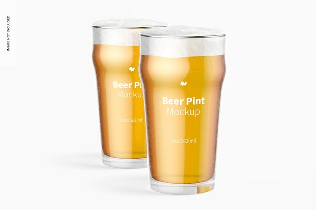 19 oz bier nonic pinten glazen mockup