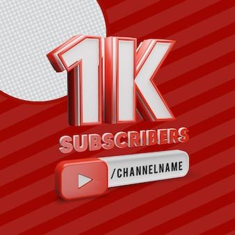 1k youtube-abonnees met bewerkbare tekst voor kanaalnaam
