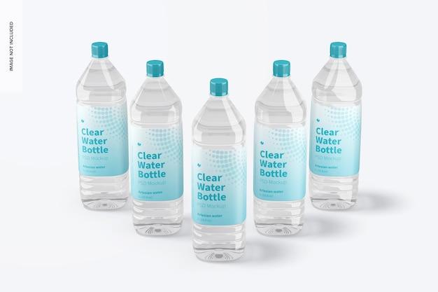 1l clear water bottle set mockup