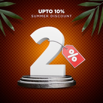 2 procent korting zomer 3d-ontwerp
