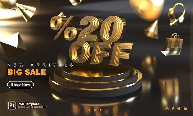 20 por ciento de descuento en la plantilla de banner de venta de oro