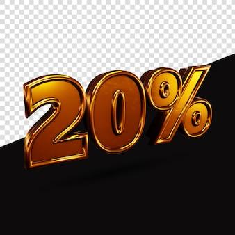 20% gouden tekst 3d-rendering geïsoleerd