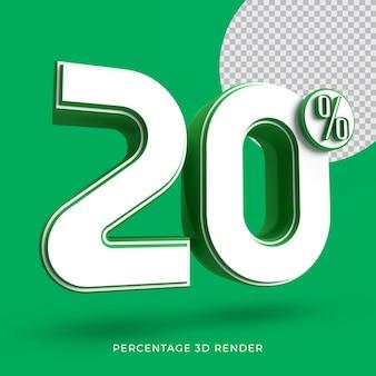 20 procent 3d render groene kleur