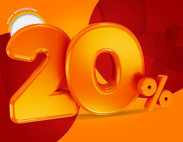 20 procent aanbieding label 3d-rendering geïsoleerd