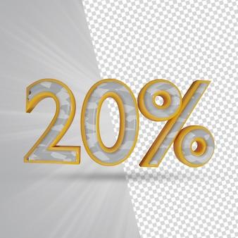 20 procent korting verkoopaanbieding 3d render