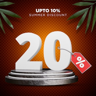 20 procent korting zomer 3d-ontwerp