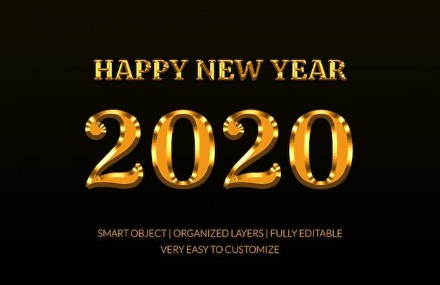 2020 effetto testo in stile dorato