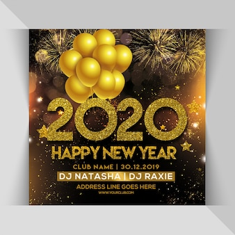 2020 feliz año nuevo fiesta fiesta flyer cuadrado