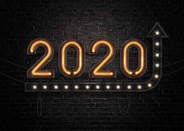 2020 feliz año nuevo letrero de neón
