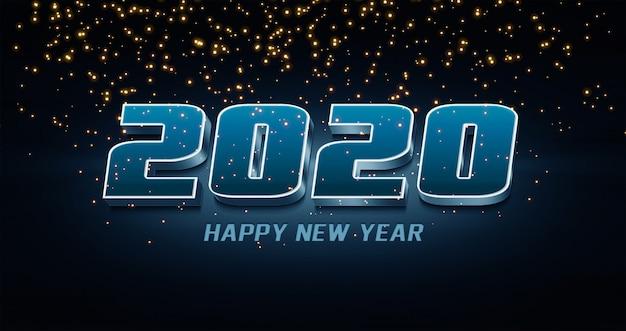 2020 happy new year effetto testo in stile 3d