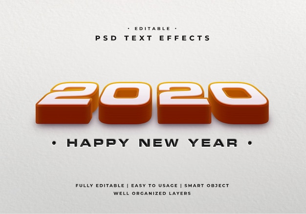 2020 mockup effetto testo in stile 3d
