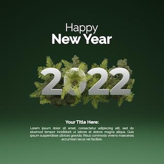 2022 gelukkig nieuwjaar 3d-rendering