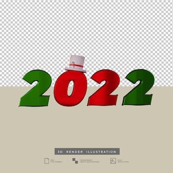 2022 tekst nieuwjaar kerstthema 3d render
