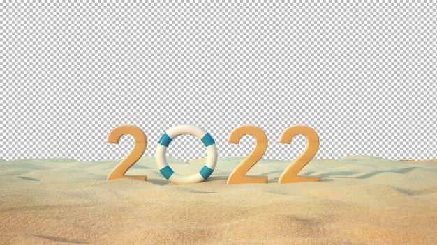 2022 tekst op het strand met zee achtergrond