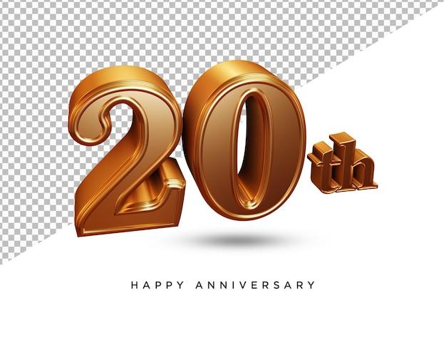 20e verjaardag 3d-rendering geïsoleerd